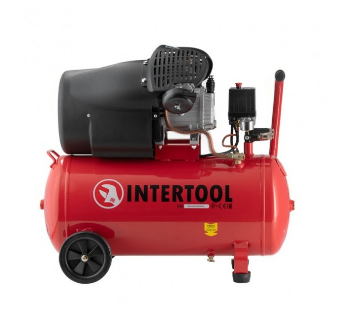 Компрессор 50 л,  2 цилиндра INTERTOOL PT-0004